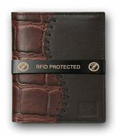 AL FASCINO Stylish RFID Protected 100% Genuine Leather Wallet for Men Brown