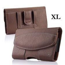 iPhone 6+ / 6S+ Plus  -  BROWN Suede Leather Pouch Holder Belt Clip Holster Case