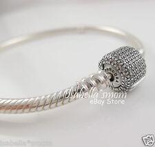 "SIGNATURE CLASP Genuine PANDORA Silver/CZ PAVE Charm BRACELET 7.5"" 19cm NEW"