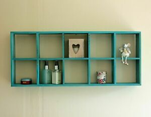 Rustic Blue Shelving Vintage Wood Wall Shelves Storage Display Décor Shelf Unit