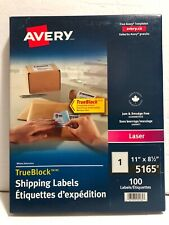 "AVERY 5165 TrueBlock 100x White 8.5""x11"" Laser Shipping Labels Box NEW & SEALED"