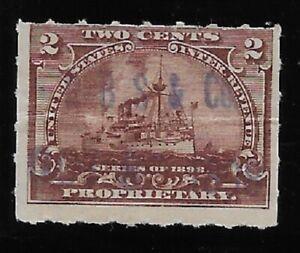 UNLISTED R. B. S. & CO. HANDSTAMP CANCEL 2c RB27 1898 Battleship Revenue Stamp