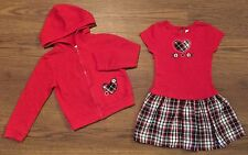 YOUNGLAND SIZE 4 4T HOODIE SWEATSHIRT SKIRTED DRESS SET HEART PLAID RED BLACK
