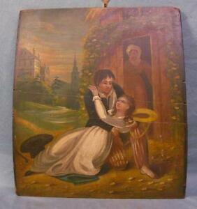 Early to Mid 19th Century Oil on Board Painting WOW