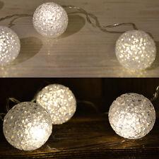 "LED Lichterkette Leuchtkugel 20 Led  "" Eiskristall "" warmweiss Trafo IP20"
