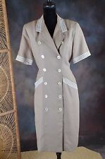 Vintage Womens Howard Wolf Double breasted Sailor dress beige  Sz 12      (H)