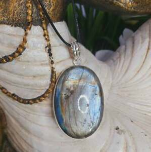 Labradorite Psychic Protection Pendant 925 Sterling Silver Plated (E1652)