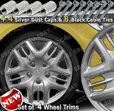 "13"" Silver Sports Set of 4 Car Wheel Trims Hub Cap Cover 4 Dust Caps 8 Cable Tie"