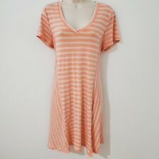 Living Doll Women's XL Tunic T Shirt Dress Striped Pink White Casual Made in USA