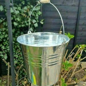 Metal Bucket 12 Litre Galvanised Strong Steel Wooden Handle Planter Water Ash