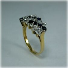 9ct Gold Sapphire & Cubic Zirconia Dress Ring