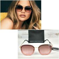 NWT QUAY AUSTRALIA Jezabell Chain Sunglasses Gold Metal Frame / Brown Pink Lens