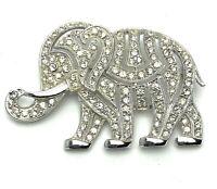 Vintage Estate Signed HATTIE CARNEGIE Rhinestone Elephant Pin Brooch Silvertone