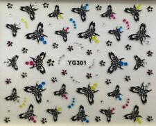 Nail Art 3D Decal Stickers Butterflies with Dot Accents and Tiny Flowers YG301