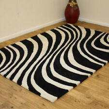 Indian Wool Rugs Premium Best Quality Thick Clearance Stylish Home Interior Rug 120x180cm (4x6') 32.nova Savanah Black White