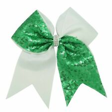 Cheer Bow Green large bow Sequins Hair Clip