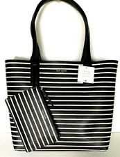 New Kate Spade New York Arch Laurel Stripe Reversible Tote & Pouch Black multi