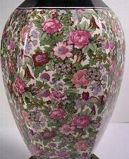 Crown Ducal 6 Sided Chintz Lamp Bird Reds Pinks Florals Ivy Chintz Pattern 1950s