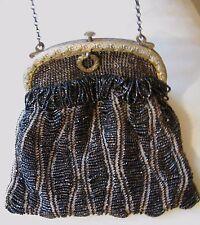 Antique Art Nouveau Gold T Floral Tan Knit Iridescent Brown Bead Fringe Purse