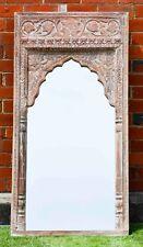 White Hand Carved Vintage Indian Mehrab Antique Wall Mirror Statement Piece