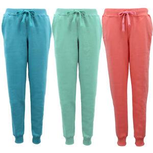 Women's Fleece Lined Sweat Plain Track Pants Cuffed Hem Casual Sports Trousers
