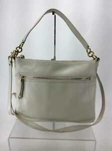 Coach White Pebbled Leather Convertible Crossbody