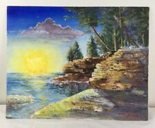16 x 20 Oil Painting Sun Rising above Lake & Rock Cliffs w Trees Clouds signed