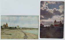 2 Early Harbor Point Michigan Lighthouse Postcards Day & Moonlight