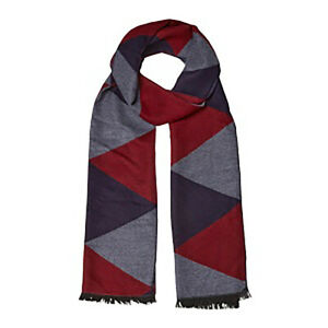 Soft Mens Womens Cosy Viscose Neck Scarf in Geometric Print Blue Red for SSAFA