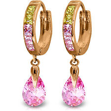 14K Solid Rose Gold Dangling Cubic Zirconia Hoop Earrings