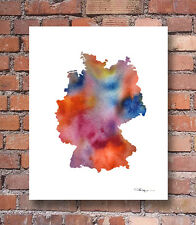 GERMANY MAP Contemporary Watercolor 11 x 14 Abstract ART Print by Artist DJR