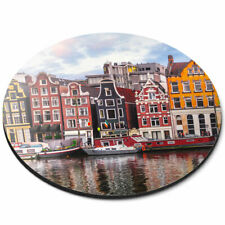 Round Mouse Mat - River Amstel Amsterdam Netherlands Office Gift #16600