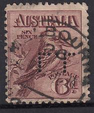 Stamp Australia 6d engraved Kookaburra with perfin LL London & Lancashire Fire
