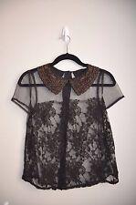 NWOT Lush black Sheer lace Embelished bead peter pan collar button blouse top S