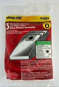 Shop Vac 91932 Type O 3-Pack of Disposable Dry Filter Bags, Medium - Fine Debris