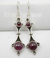 "925 Sterling Silver RED GARNET 2 Gemstone FACTORY DIRECT Earrings 1.8"" OXIDIZED"