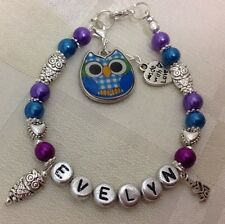 *Hand Crafted - Personalised Childrens or Adults OWL Birthday Named Bracelet**