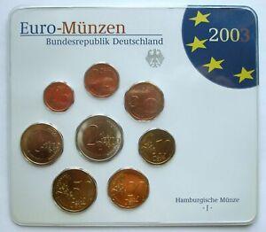 GERMANY - OFFICIAL MINT SET (2003) UNC - 8 EURO COINS - HAMBURG MINT J