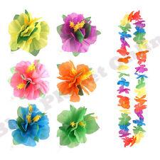 HAWAIIAN FLOWER HAIRCLIP & MULTI LEI GARLAND HULA HAIR CLIP FANCY DRESS COSTUME