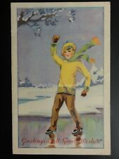 Christmas: Greetings & all Good Wishes, Boy Ice Skating by Newman, Wolsey & Co