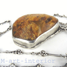 Antik 30er Bernstein Silber Anhänger Antique Natural Amber Silver Necklace 88g