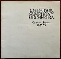 London Symphony Orchestra Concert Season 1975 – 76 Programme Erich Leinsdorf
