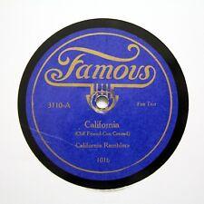 "CALIFORNIA RAMBLERS / FRISCO SYNCOPATORS ""California"" 1922 FAMOUS 3110 [78 RPM]"