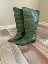 Vintage 1980s Boho Hippie Hand Painted Andrea Carrano Green Leather Boots Sz 9