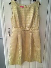 Monsoon Dress Yellow Gold  Size 12 Bow Front Spot New With Tags Lined So Nice