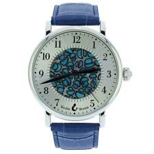 GlassOfVenice Murano Glass Men's Millefiori Watch With Leather Band - Blue