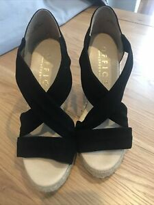 Office Espadrille Suede Wedge Black Size 4