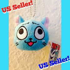 US Seller! FAIRY TAIL Happy the Cat Plush Doll Head Cute Kawaii Anime Keychain