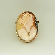 Antique 14Kt Yellow Gold Hand Carved Shell Diamond Cameo Brooch