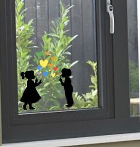 Window Sticker Blowing Bubble Hearts Rainbow Silhouette Decal Valentines Day